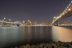 NYC Bridges At Night Stock Photos