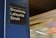 NYC Broadway Lafayette Subway Underground Metro Station New York City SoHo Trendy District stock photography