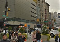 NYC Broadway 14 Street Union Square People Walking and Shopping Busy Streets royalty free stock photography