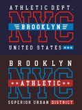 NYC Brooklyn athletic sport typography for t shirt print Stock Photography
