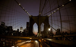 NYC Brooklyn bridge at night Stock Photos