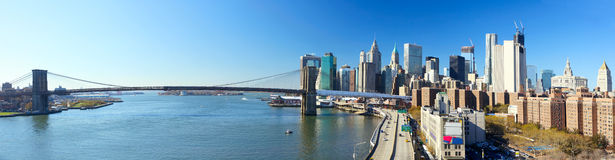 NYC Brooklyn Bridge panorama Stock Images