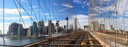 NYC Brooklyn Bridge panorama Stock Photos