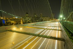 NYC Brooklyn Bridge Road. New York City Brooklyn Bridge by night. Wide angle view from one of the spot placed of the road Royalty Free Stock Images