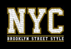 NYC brooklyn street style. T-shirt graphic royalty free illustration
