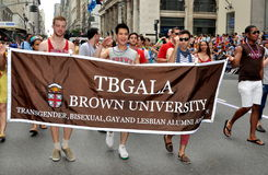 NYC: Brown University Gays at Pride Parade Stock Images