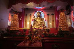 NYC Budhist temple interior stock photography