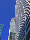 NYC building sky scrapper. Skyline modern offices window Royalty Free Stock Photography