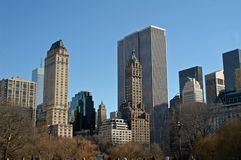 NYC Buildings During Fall. Manhattan Buildings in New York City from Central Park Stock Photo