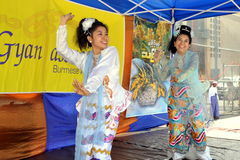 NYC: Burmese Dancers at Water Festival Stock Photo