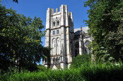 NYC: Cathedral of St. John the Divine. View across a verdant, tree-filled park to the sublime Cathedral Church of St. John the Divine with its still unfinished Royalty Free Stock Photos