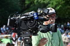 NYC:  CBS-TV Cameraman at Memorial Day Event Stock Images