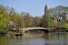NYC: Central Park Boating Lake & Bow Bridge Stock Photos