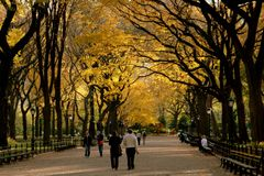 NYC: Central Park Mall in Autumn Stock Photo