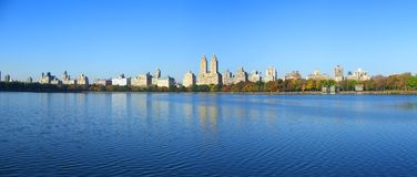 NYC Central Park reservoir panoramic view Royalty Free Stock Photos