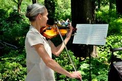 NYC:  Central Parkviolinist Royaltyfria Bilder