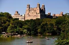 NYC: Centrali Parkowy Wodniactwo Jezioro Obraz Stock