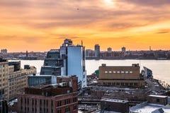 NYC Chelsea und Westseite bei Sonnenuntergang Stockbild