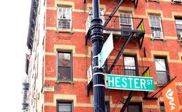 NYC Chinatown Hester Street Sign Lower East Side Manhattan Tenement Apartment Old Neighborhood Retro Style stock image