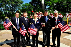 NYC:Chinese-American War Veterans. Chinese-American War Veterans from the Lt. B. R. Kimlau Chinese Memorial Post 1291, the American Legion, at the annual Stock Photos