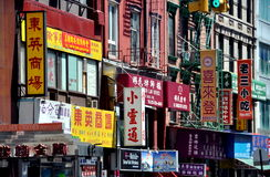 NYC: Chinese Tekens in Chinatown Royalty-vrije Stock Afbeelding