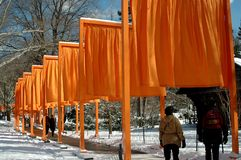 NYC: Christo's The Gates in Central Park royalty free stock image