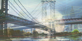 NYC. Cityscape Composition. Manhattan bridge Stock Images