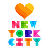 Nyc color text typography, t-shirt graphics. Vector illustration Stock Image