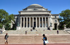 NYC: Columbia University Library. The great Library of Columbia University with the famed Alma Mater statue at the center of the stairs is the focal point of the royalty free stock photo