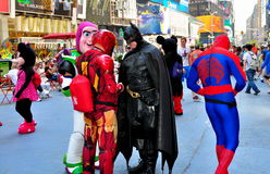 NYC: Comic Book Characters in Times Square Stock Photo