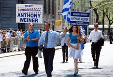 NYC: Cong. Weiner at Greek Parade. New York Congressman Anthony Weiner marching with appropriate introductory signs at the annual Greek Independence Day Parade Royalty Free Stock Photography