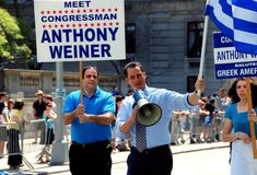NYC: Congressman Anthony Wiener. New York Congressman Anthony Wiener (with bullhorn) marching on Fifth Avenue during the annual Greek Independence Day Parade on Stock Image