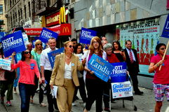 NYC: Council Woman Gale Brewer Campaigning. NYC:  Council woman Gale Brewer (in beige pantsuit) who is running for the office of Manhattan Borough President Royalty Free Stock Images