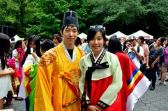 NYC: Couple in Korean Robes Royalty Free Stock Photo