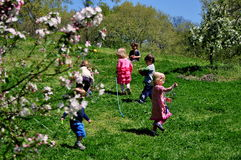 NYC: Crianças que jogam no parque do beira-rio Fotografia de Stock Royalty Free