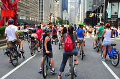 NYC: Cyklister på Park Avenue Arkivbilder