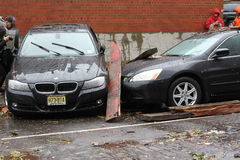 NYC Damage - Hurricane Sandy. Cars in lower east side Manhattan after Hurricane Sandy hits NYC royalty free stock photos