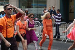 The 2015 NYC Dance Parade 7. Dance Parade New York is an entity of Dance Parade Inc. whose charitable mission is to promote dance as an expressive and unifying Stock Image