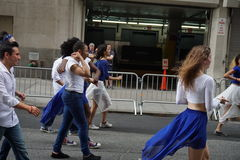The 2015 NYC Dance Parade 18. Dance Parade New York is an entity of Dance Parade Inc. whose charitable mission is to promote dance as an expressive and unifying Stock Image