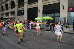 The 2015 NYC Dance Parade 80. Dance Parade New York is an entity of Dance Parade Inc. whose charitable mission is to promote dance as an expressive and unifying Royalty Free Stock Photos