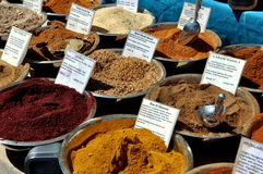 NYC: Display of Spices at Street Festival Stock Images