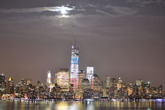 NYC downtown. A beautiful sight of NYC downtown on a full moon Stock Photos