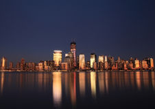 NYC Downtown and Freedom Tower at dusk. Stock Photography