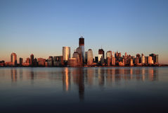 NYC Downtown and Freedom Tower at dusk. Royalty Free Stock Images