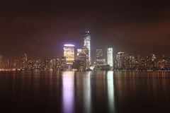 NYC Downtown and Freedom Tower at night. Stock Images