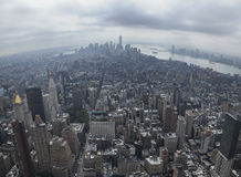 NYC Downtown. Panoramic view of New York city from Empire State building Stock Photos