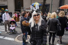 The 2015 NYC Easter Parade 88. The Easter parade is an American cultural event consisting of a festive strolling procession on Easter Sunday. Typically, it is a royalty free stock image