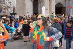 The 2015 NYC Easter Parade 84. The Easter parade is an American cultural event consisting of a festive strolling procession on Easter Sunday. Typically, it is a stock photos