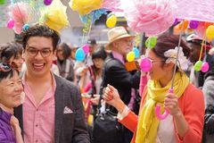 The 2015 NYC Easter Parade & Bonnet Festival 12. The Easter parade is an American cultural event consisting of a festive strolling procession on Easter Sunday stock image