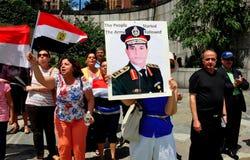 NYC: Egyptenaren die tegenover de Verenigde Naties protesteren Royalty-vrije Stock Fotografie